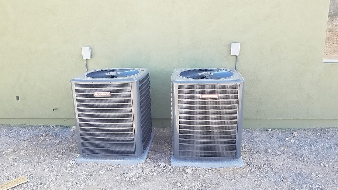 Peoria, AZ - Finishing up a custom new build in Peoria. We installed two 3.5 ton 14 seer Goodman heat pump split system with custom flex and duct systems!