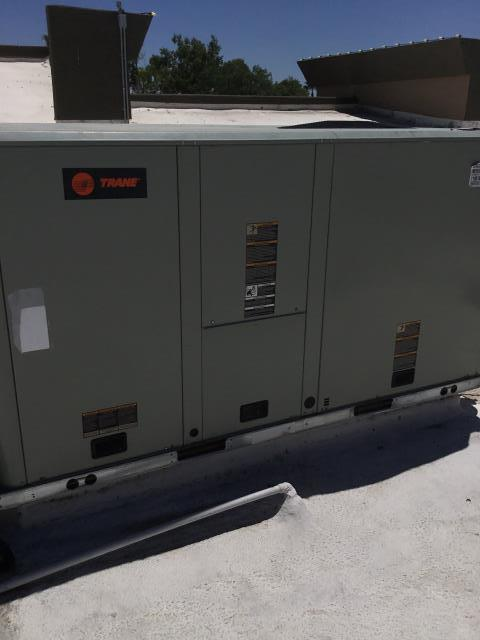 Scottsdale, AZ - At a sandwich shop in Scottsdale. Found that the Trane system was very low on freon and  that the coil had a leak at the line from the TXV. I was able to weld the line shut, vacuum the system, and recharge unit with 13.8 pounds of R410A.