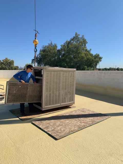 Peoria, AZ - In Peoria, AZ on a commercial building installing new swap coolers!