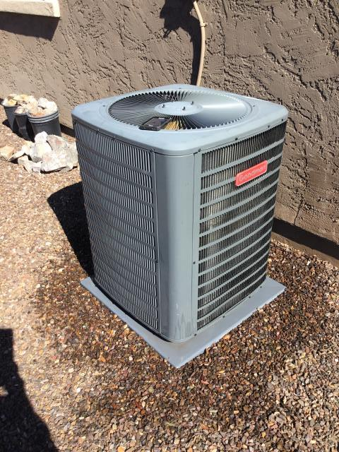 Peoria, AZ - In Peoria,AZ performing a spring maintenance service to a Goodman unit. Did a safety inspection of the unit, did an acid wash to the exterior condensing coils, and changed the air filters.