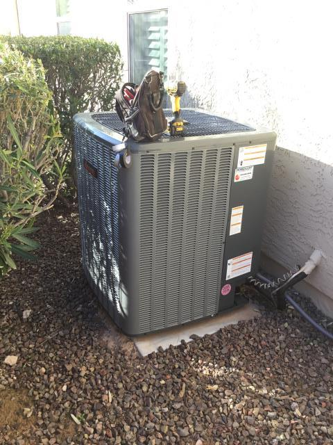 Buckeye, AZ - In Buckeye Arizona performing cooling maintenance on a Amana inverter gas split system.