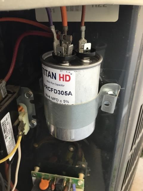 Scottsdale, AZ - In Scottsdale, AZ upon arrival changed two April Air 5 Inch filters. Cleaned drains. Down stairs system I replaced the batteries in the thermostat and also found that the units Run Capacitor was out of specs and replaced it at the time of service. Unit is working great upon departure.