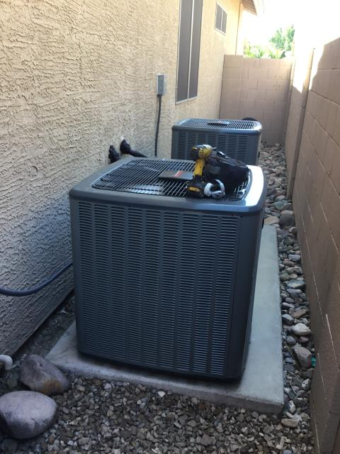 Glendale, AZ - In Glendale, AZ:  Upon arrival, cycled unit into cooling mode. Replaced intake filters and took temperature readings from supply and return. At unit, cleaned and tightened electrical connections. Took volts and amp draws from components. Checked Freon levels with super heat and sub cool. Checked start and run capacitors. Upon departure, unit was working properly and within manufacture specifications.