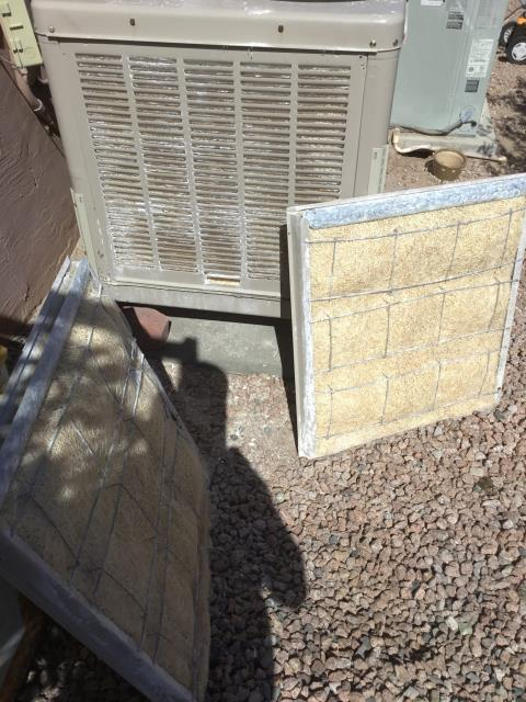 Fort McDowell, AZ - In Fort McDowell, AZ:  RETURNED AND INSTALLED THREE 26x26 ASPEN PADS AND ALSO A BELT . REMOVED EXISTING PADS AND INSTALLED CORRECTLY ALSO MOUNTED BACK ON PANEL. REMOVED EXISTING BELT AND INSTALLED NEW BELT AND TIGHTENED TO SPEC. UPON DEPARTURE UNIT WORKING PROPERLY AND WITHIN SPEC.