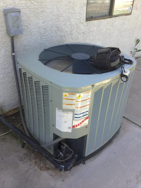 Gilbert, AZ - In Gilbert, AZ:  UPON ARRIVAL CYCLED UNIT INTO COOLING MODE. REPLACED INTAKE FILTERS AND ALSO TOOK TEMPERATURE READINGS FROM SUPPLY AND RETURN. CLEANED AND TIGHTENED ELECTRICAL CONNECTIONS. TOOK VOLTS AND AMP DRAWS. CHECKED FREON LEVELS AND CAPACITORS. UPON DEPARTURE UNIT WORKING PROPERLY AND WITHIN SPEC.