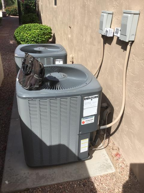 In Sun Lakes, AZ:  UPON ARRIVAL CYCLED UNITS INTO COOLING MODE. REPACED TWO 16x25 INTAKE FILTERS. AT UNITS CLEANED AND TIGHTENED ELECTRICAL CONNECTIONS. TOOK VOLTS AND AMP DRAWS FROM COMPONENTS. CHECKED FREON LEVELS WITH SUPER HEAT AND SUBCOOL. CHECKED STAR AND RUN CAPACITORS. WASHED AND RINSED OUTDOOR COILS. UPON DEPARTURE UNITS WORKING PROPERLY AND WITHIN MANUFACTURER SPECIFICATIONS.
