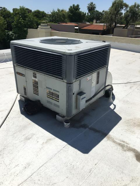 Phoenix, AZ - In Phoenix, AZ:  UPON ARRIVAL CYCLED UNIT INTO COOLING MODE REPLACED INTAKE FILTERS AND TOOK TEMPERATURE READINGS FROM SUPPLY AND RETURN. AT UNIT CLEANED AND TIGHTENED ELECTRICAL CONNECTIONS. TOOK VOLTS AND AMP DRAWS FROM COMPONENTS. UPON DEPARTURE UNIT WORKING PROPERLY AND WITHIN MANUFACTURER SPECIFICATIONS.