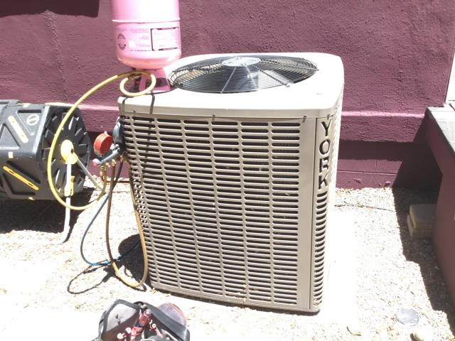 Phoenix, AZ - In Phoenix, AZ:  ON ARRIVAL FOUND SYSTEM LOW ON REFRIGERANT LEO PUT FREON LAST TIME CHARGED SYSTEM WITH R410A AND PERFORMED A LEAK SEARCH. FOUND LEAK ON THE INDOOR COIL NEED TO CALL YORK ON MONDAY TO FIND OUT ABOUT WARRANTY AND AVAILABILITY ADDED TWO POUNDS OF R410A FREON FOR NOW. U.S AIR HAS COIL IN STOCK DOWNTOWN LOCATION.