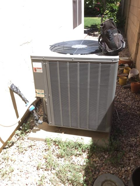 Glendale, AZ - In Glendale, AZ:  CYCLED UNIT ON IN COOL. CHECKED VOLT AND AMP DRAWS, ALL IN FACTORY SPECIFICATIONS. CLEANED AND TIGHTENED ELECTRICAL CONNECTIONS. CHECKED FREON LEVELS AND PRESSURES ALL IN FACTORY SPECIFICATIONS. CHECKED INDOOR BLOWER MOTOR AMPS. (SEE CHECKLIST FOR READINGS.) CHANGED RETURN AIR FILTER. CHECKED SPLIT TEMPS RETURN 76 SUPPLY 57. UNIT IS RUNNING PROPER AT THIS TIME.