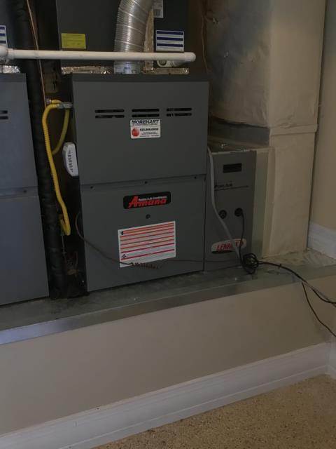Paradise Valley, AZ - In Paradise Valley, AZ:  Electrician ran two wires from condensor to furnaces. One wire is stretched and the jacket is exposed. Used other wiring. Wired in furnace and condensor. Tested system. Unit working properly.