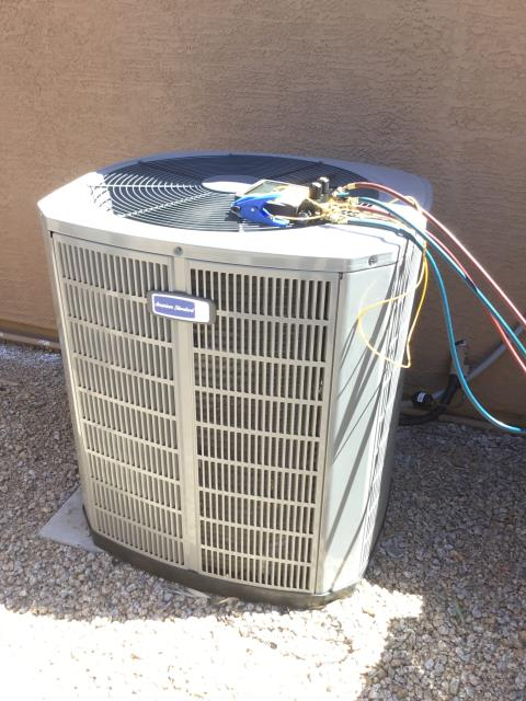 Phoenix, AZ - In Phoenix, AZ:  UPON ARRIVAL CYCLED UNIT INTO COOLING MODE. LEFT HOMEOWNER WITH INTAKE FILTERS AND TOOK TEMPERATURE READINGS FROM SUPPLY AND RETURN. AT UNIT CLEANED AND TIGHTENED ELECTRICAL CONNECTIONS. TOOK VOLTS AND AMP DRAWS FROM COMPONENTS. CHECKED START AND RUN CAPACITORS. CHECKED FREON LEVELS WITH SUPER HEAT AND SUBCOOL. WASHED AND RINSED OUTDOOR COILS. UPON DEPARTURE UNIT WORKING PROPERLY AND WITHIN MANUFACTURER SPECIFICATIONS.