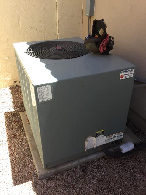 In Sun Lakes, AZ:  UPON ARRIVAL CYCLED UNIT INTO COOLING MODE. CLEANED AND WASHED CLEAN EFFECT AIR FILTRATION . TOOK TEMPERATURE READINGS FROM SUPPLY AND RETURN. AT UNIT CLEANED AND TIGHTENED ELECTRICAL CONNECTIONS. TOOK VOLTS AND AMP DRAWS FROM COMPONENTS. CHECKED FREON LEVELS WITH SUPER HEAT AND SUBCOOL. UPON DEPARTURE UNIT WORKING PROPERLY AND WITHIN MANUFACTURER SPECIFICATIONS.