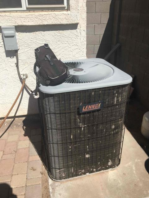 Phoenix, AZ - In Phoenix, AZ:  UPON ARRIVAL CYCLED UNIT INTO COOLING MODE. LEFT HOMEOWNER WITH INTAKE FILTER AND TOOK TEMPERATURE READINGS FROM SUPPLY AND RETURN. AT UNIT CLEANED AND TIGHTENED ELECTRICAL CONNECTIONS. TOOK VOLTS AND AMP DRAWS. CHECKED START AND RUN CAPACITORS . WASHED AND RINSED OUTDOOR COILS. UPON DEPARTURE UNIT WORKING PROPERLY AND WITHIN MANUFACTURER SPECIFICATIONS.