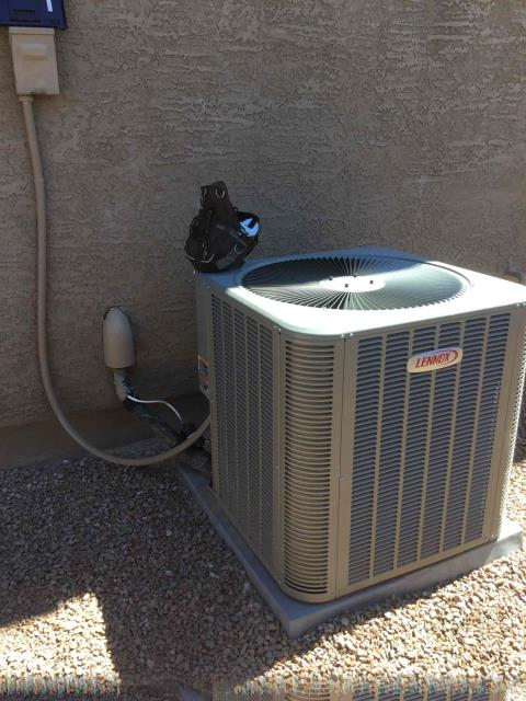 Peoria, AZ - In Peoria, AZ:  Upon arrival, cycled unit into cooling mode. Left homeowner with intake filters and took temperature readings from supply and return. At unit, cleaned and tightened electrical connections. Took volt and amp draws from components. Checked run and start capacitors. Checked freon levels with super heat and subcool. Washed and rinsed outdoor coils. Upon departure, Lennox unit was working properly and within manufacturer specifications.