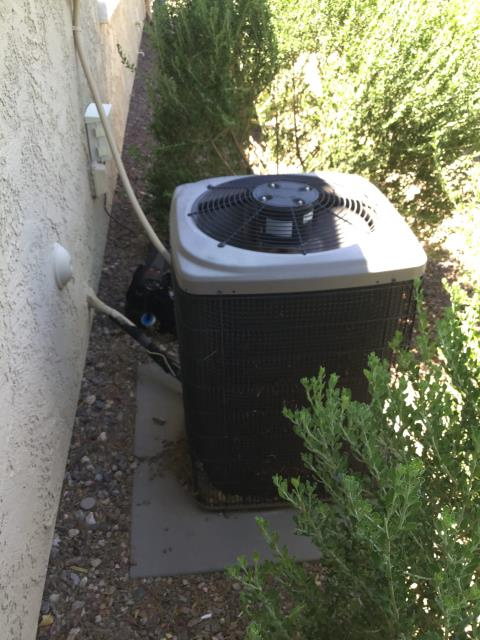 Buckeye, AZ - In Buckeye, AZ:  Completed service in accordance with maintenance checklist. Please refer to list for photos and ratings. During service noticed unit was very loud. This noise is coming from the fan motor. Recommend replacement of part. The condensor needs to be pulled apart so leafs from bushes can be cleaned out. In addition would recommend considering upgrading system due to it being 12 years old and it uses r22.