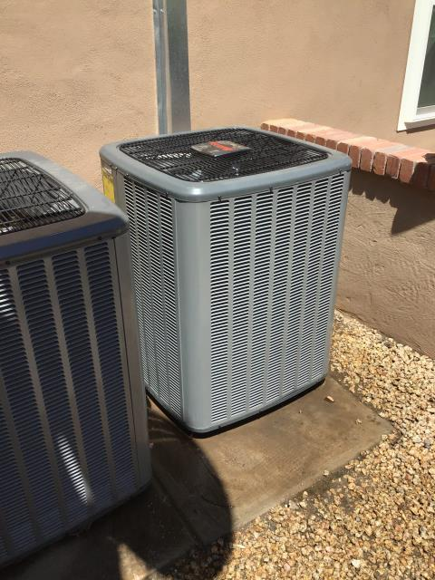 Chandler, AZ - In Chandler, AZ:  Completed service in accordance with maintenance checklist. Please refer to list for photos and ratings. Cut exposed lineset flush with wall and sealed with silicone. Strapped line together so the liquid lines would stop rubbing on the ground.