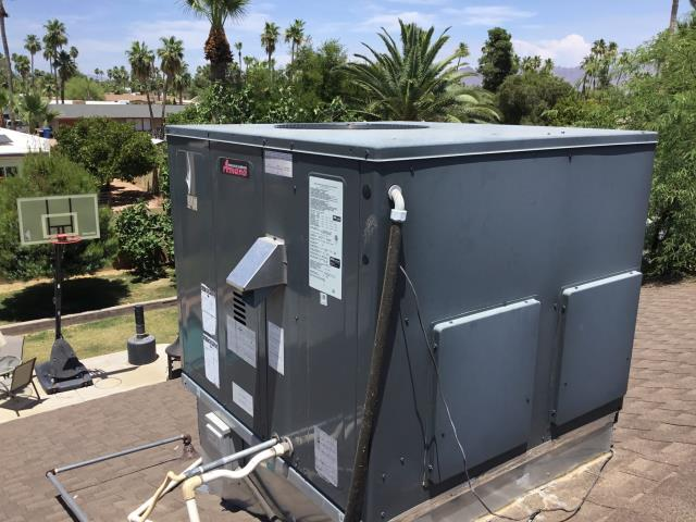 Scottsdale, AZ - In Scottsdale, AZ:  Cycled system on in cooling mode. Checked volt and amp draws, all within factory specs. Cleaned and tightened electrical connections. Checked freon levels and pressures, also in factory specs. Acid washed outdoor coil and rinsed. Gave customer filters to change. Customer requested a no contact visit.