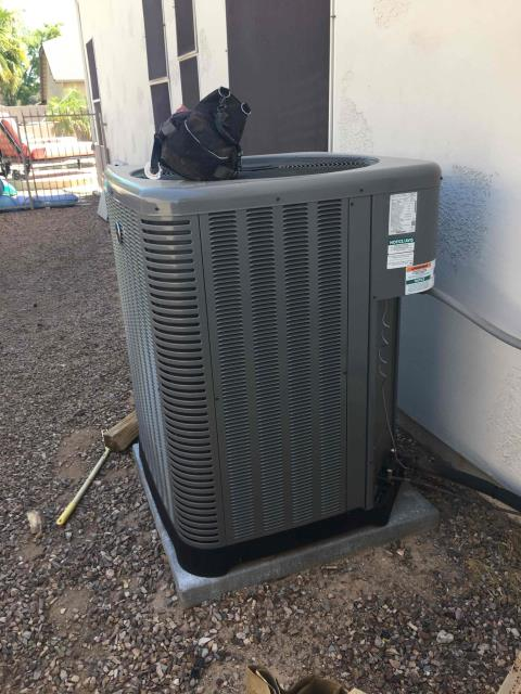 Peoria, AZ - In Peoria, AZ:  Upon arrival, cycled unit into cooling mode. Replaced intake filters and took temperature readings from supply and return. At unit, checked volts and amp draws from components. Cleaned and tightened electrical connections. Washed and rinsed outdoor coils. Checked freon levels with super heat and subcool. Upon departure, unit is working properly and within manufacturer specs.