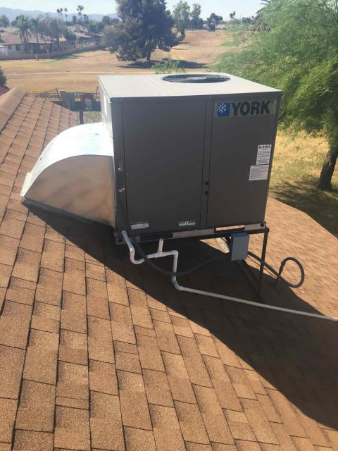 Phoenix, AZ - In Phoenix, AZ:  UPON ARRIVAL CYCLED UNIT INTO COOLING MODE. LEFT HOMEOWNER WITH INTAKE FILTERS AND TOOK TEMPERATURE READINGS FROM SUPPLY AND RETURN. AT UNIT CLEANED AND TIGHTENED ELECTRICAL CONNECTIONS. TOOK VOLTS AND AMP DRAWS FROM COMPONENTS. WASHED AND RINSED OUTDOOR COILS. CHECKED FREON LEVELS WITH SUPER HEAT AND SUBCOOL. CHECKED RUN AND START CAPACITOR. INSTALLED ECO BEE HOMEOWNER SUPPLIED . TO RETURN AND PERFORM DUCT CLEANING TO ALL REGISTERS AND ALL DUCT WORK . UPON DEPARTURE UNIT WORKING PROPERLY AND WITHIN MANUFACTURER SPECS.