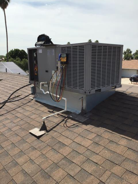 Goodyear, AZ - In Goodyear, AZ:  Completed service in accordance with maintenance checklist. Please refer to list for photos and ratings. Customer is remodeling home and unit was off. Home was 94 degrees during service causing elevated ratings.