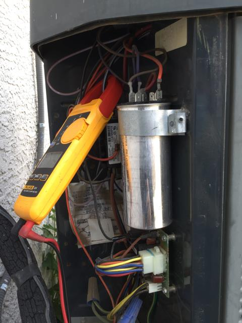 Peoria, AZ - In Peoria, AZ:  Upon arrival found 60/5 capacitor swollen preventing system from engaging. Replaced part and cycled system. Compressor 21.2/18.36 RLA. Fan 1.4/ 1.19 FLA. System working properly upon departure.