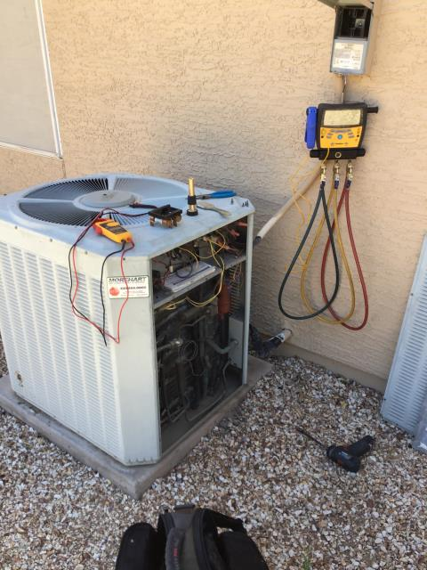 In Sun Lakes, AZ:  Completed service in accordance with maintenance checklist. System is 25 years old and in very poor condition. Recommend replacement of entire system. Replaced capacitor during service due to it being swollen and testing at 0. Made customer aware of wear to system.