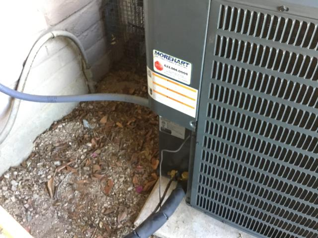 Wickenburg, AZ - In Wickenburg, AZ:  Checked furnace and coil in the garage. Supply is sealed very well and clean. Gas line is tight and sealed. PVC flue piping is correct and glued. Drain line for furnace and coil are plumbed and glued properly. Cycled furnace on, all working properly. Cycled cooling. Checked condenser, hooked up gauges; pressures are set proper. Suction 130 Liquid 357. Disconnect installed with new whip and proper. Install looks very good with no issues. Removed program off thermostat. Customer just wants easy. Completed QC.