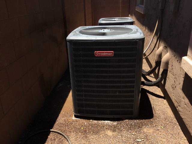 Peoria, AZ - In Peoria, AZ:  CYCLED UPSTAIRS SYSTEM ON IN COOLING. CHECKED VOLT AND AMP DRAWS, ALL IN FACTORY SPECIFICATION. CLEANED AND TIGHTENED ELECTRICAL CONNECTIONS. CHECKED FREON LEVELS AND PRESSURES, ALSO IN FACTORY SPECIFICATION. (SEE COOLING CHECKLIST FOR RATINGS AND DETAILS). ACID WASHED OUTDOOR COIL AND RINSED. CHANGED RETURN AIR FILTER AND CHECKED SPLITS, RETURN 80 SUPPLY 60. SYSTEM IS RUNNING PROPER AT THIS TIME.  CYCLED DOWN STAIRS SYSTEM ON IN COOLING. CHECKED VOLT AND AMP DRAWS, ALL IN FACTORY SPECIFICATION. CLEANED AND TIGHTENED ELECTRICAL CONNECTIONS. CHECKED FREON LEVELS AND PRESSURES, ALSO IN FACTORY SPECIFICATION. (SEE COOLING CHECKLIST FOR RATINGS AND DETAILS). ACID WASHED OUTDOOR COIL AND RINSED. CHANGED RETURN AIR FILTER AND CHECKED SPLITS, RETURN 77 SUPPLY 57. RECOMMEND NEW 45/5/440 CAPACITOR. INSTALLED NEW RUN CAPACITOR UNDER WARRANTY.