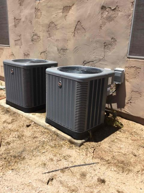 Scottsdale, AZ - In Scottsdale, AZ:  Service completed on two heat pump split systems. Replaced intake filters, also took temperature readings from supply and return. Cleaned and tightened electrical connections and took volts and amp readings. Checked Freon levels with super heat and subcool. Upon departure, unit is working and within manufacturer specifications.