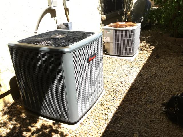 Peoria, AZ - In Peoria, AZ:  CYCLED DOWN STAIRS SYSTEM ON IN COOLING. CHECKED VOLT AND AMP DRAWS, ALL IN FACTORY SPECIFICATION. CLEANED AND TIGHTENED ELECTRICAL CONNECTIONS. CHECKED FREON LEVELS AND PRESSURES, ALSO IN FACTORY SPECIFICATION. (SEE COOLING CHECKLIST FOR RATINGS AND DETAILS). ACID WASHED OUTDOOR COIL AND RINSED. CHANGED RETURN AIR FILTER AND CHECKED SPLITS, RETURN 75 SUPPLY 56. SYSTEM NEEDS NEW 45/5/440 CAPACITOR. INSTALLED NEW RUN CAPACITOR ALL WORKING PROPER.  CYCLED UP STAIRS SYSTEM ON IN COOLING. CHECKED VOLT AND AMP DRAWS, ALL IN FACTORY SPECIFICATION. CLEANED AND TIGHTENED ELECTRICAL CONNECTIONS. CHECKED FREON LEVELS AND PRESSURES, ALSO IN FACTORY SPECIFICATION. (SEE COOLING CHECKLIST FOR RATINGS AND DETAILS). ACID WASHED OUTDOOR COIL AND RINSED. CHANGED RETURN AIR FILTER AND CHECKED SPLITS, RETURN 75 SUPPLY 55.SYSTEM IS NEWER AND RUNNING PROPER AT THIS TIME.