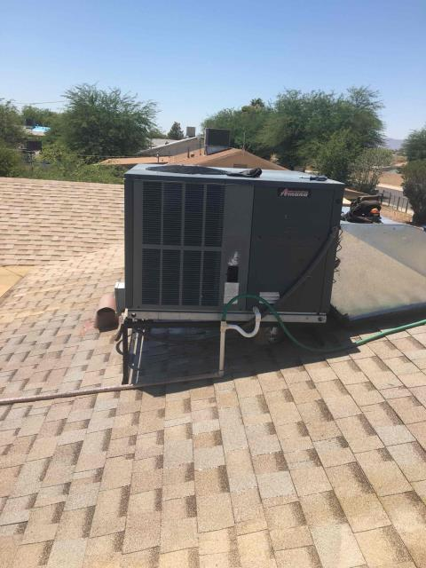 In Avondale, AZ:  Upon arrival, cycled unit into cooling mode. Left homeowner with intake filters and took temperature readings from supply and return. At unit, cleaned and tightened electrical connections. Took volts and amp draws from components. Checked Freon levels with super heat and subcool. Washed and rinsed outdoor coils. Upon departure, unit is working properly and within manufacturer specifications.