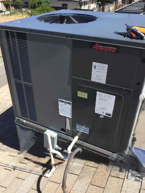 Glendale, AZ - In Glendale, AZ:  Upon arrival, cycled unit into cooling mode. Replaced 20X30 intake filters. Took temperature readings from supply and return. At unit, cleaned and tightened electrical connections. Took volts and amp draws from components. Checked Freon levels with super heat and subcool.