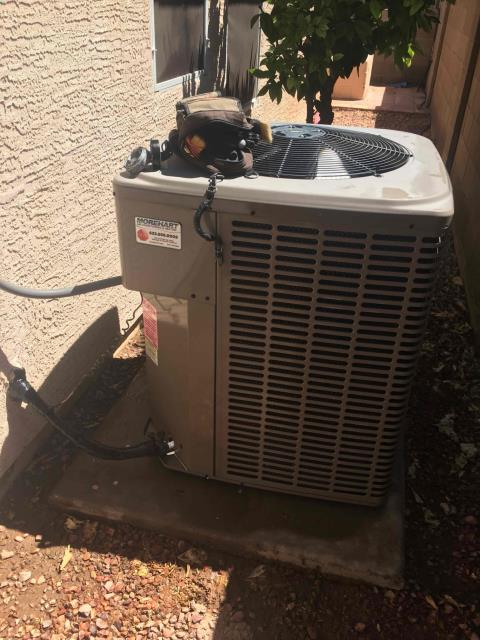 Chandler, AZ - In Chandler, AZ:  Upon arrival, cycled unit into cooling mode. Left homeowner with intake filters and took temperature readings from supply and return. At unit, cleaned and tightened electrical connections. Took volts and amp draws from components. Upon departure, unit is working properly and within manufacturer specifications.
