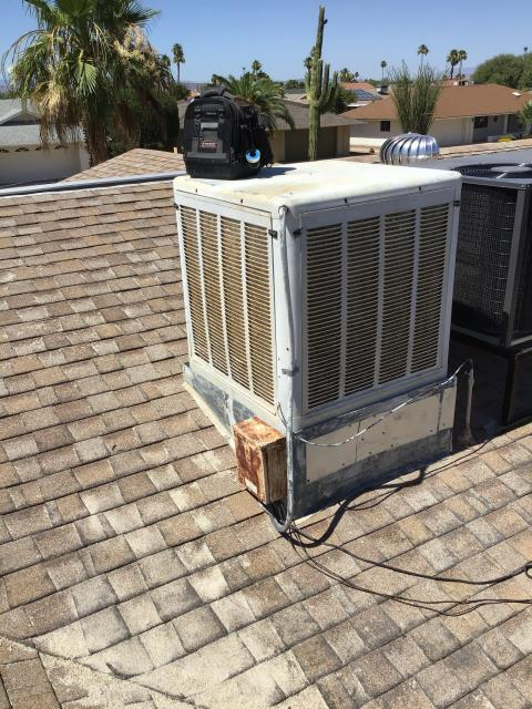 Sun City West, AZ - In Sun City West, AZ:  Estimate- Morehart AC to install and furnish 4500 cfm 115v down draft evaporative cooler. To include control box, thermostat, high volt plug, low volt wiring, leg kit, and drain line. To hook up to existing damper, roof jack, ducting, and water line. Price covers tax, installation, and removal of existing equipment.