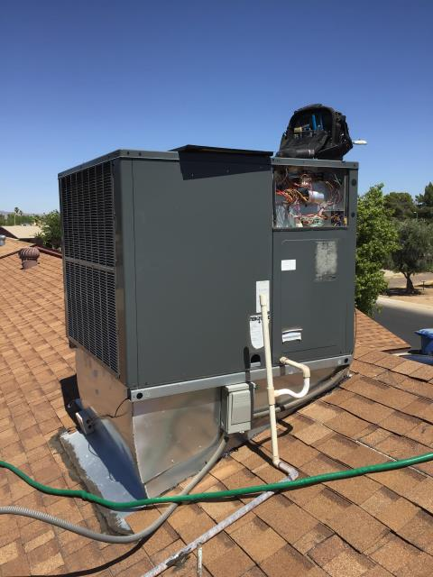 Chandler, AZ - In Chandler, AZ:  Completed Spring preventative maintenance in accordance with maintenance checklist. Killz drywall were there for water spots. Warrantied out run capacitor.