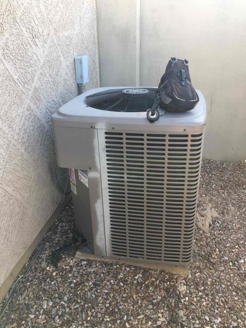 Peoria, AZ - In Peoria, AZ:  Upon arrival, homeowner cycled unit into cooling mode. Let unit cycle for 10-15 minutes. Checked charge on system 58/252 PSI R410-A. Noticed system extremely low on charge and found leak on copper to aluminum joint at condensing coil. Verified leak with soap bubbles. Gave homeowner labor quote on replacing condensing coil. Collected diagnosis, charged, and left condensing unit unplugged at disconnect box.
