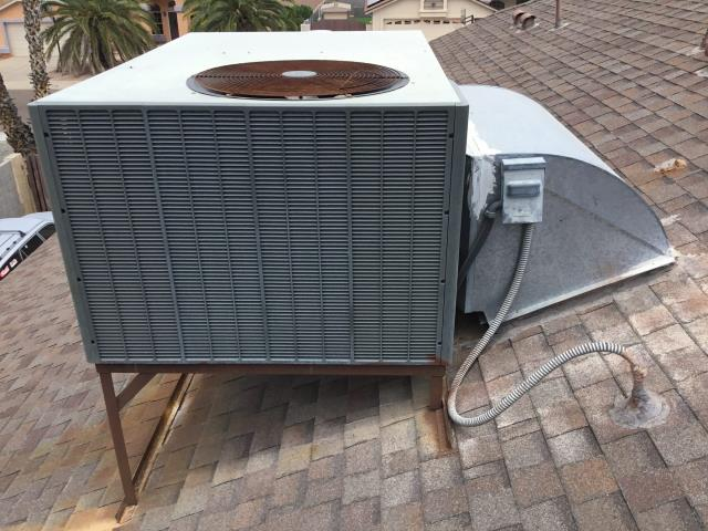 """Peoria, AZ - In Peoria, AZ:  Estimate for a new 4 ton package heat pump; roof jack is 45 3/4""""; top 26 1/4""""; side 2""""; high jack side by 5/12 pitch."""