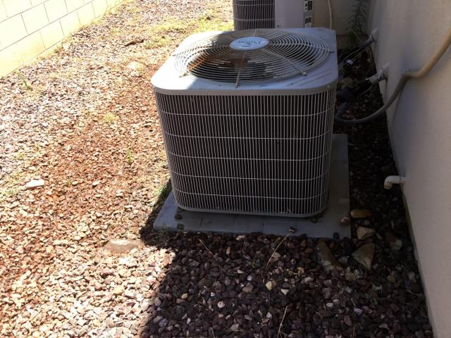 Buckeye, AZ - In Buckeye, AZ:  Cycled downstairs system on into cooling mode. Checked volt and amp draws; all in factory specification. Cleaned and tightened electrical connections. Checked Freon levels and pressures; also within factory specification. Changed return air filters and checked splits; Return 76/Supply 57.  Cycled upstairs system on into cooling mode. Checked volt and amps draws; all in factory specification. Cleaned and tightened electrical connections. Checked Freon levels and pressures; also in factory specification. Changed return air filters and checked splits.; Return 76/Supply 57. Outdoor fan motor is high amping; recommend changing out motor.