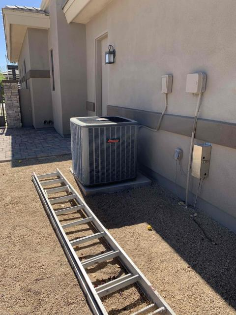 In Peoria, AZ:  PREVENTATIVE MAINTENANCE-  Upon arrival, cycled units into cooling mode. Took temperature readings from supply and return. At units, cleaned and tightened electrical connections. Checked volts and amp draws from components. Checked start and run capacitors. Also, checked Freon levels with superheat and subcool. Washed and rinsed outdoor coils. Upon departure, units are working properly and within factory specifications.