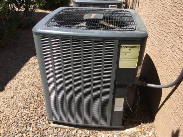 In Sun Lakes, AZ:  DIAGNOSTIC-  On arrival, found system running and cooling. Checked Freon levels; all in factory specification. Checked volt and amp draws; also within factory specification. Capacitor is new and in specification. Checked drain line and wet switch; no water, and drain is clear. Checked indoor blower motor; amps are good. Checked split temps; Return 78/Supply 59. Found ECO+ enabled so when customer left, system over rode program.