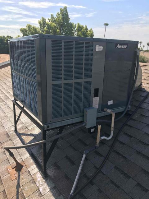 In Tempe, AZ:  PREVENTATIVE MAINTENANCE-  Cycled unit into cooling mode. Cleaned and tightened electrical connections Checked volt and amp draws; all within manufacturer specifications. Freon levels all are good. Unit is running proper at this time. Acid washed outdoor coil and rinsed. Changed return air filter. Splits: Return 79/Supply 60. Service complete.