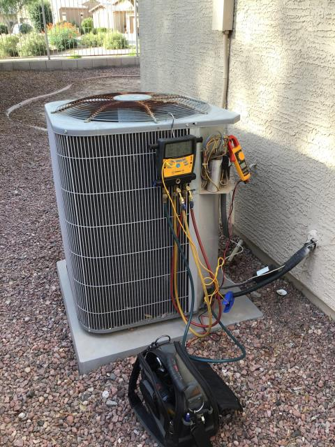 Tolleson, AZ - In Tolleson, AZ:  DIAGNOSTIC-  Customer says the front bedroom gets very hot during the day as well as the home not being comfortable during the heat of the day. Cycled system into cooling mode. Charge 120/415 psig. SLT 68 degrees. Spits 58/78. Issues with system are due to poor insulation and ducting. This is preexisting and is not covered by home warranty. Home was 76 degrees upon departure.