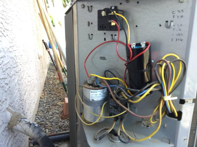 In San Tan Valley, AZ:  PREVENTATIVE MAINTENANCE-  Cycled system on into cooling mode. Checked volt and amp draws; all in factory specification. Cleaned and tightened electrical connections. Checked Freon levels and pressures; also in factory specification. Acid washed outdoor coil and rinsed. Changed return air filters and checked splits. Return 76/Supply 57. Hard start kit is very hot and is low on MFD. Recommend new hard start kit.