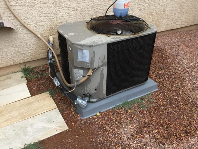 Buckeye, AZ - In Buckeye, AZ:  PREVENTATIVE MAINTENANCE-  Cycled system on into cooling mode. Checked volt and amp draws and all are in factory specification. Cleaned and tightened electrical connections. Checked Freon levels and pressures. Found system down on R22 Freon. Checked for leaks and found indoor coil had leaks. Acid washed outdoor coil and rinsed. Changed return air filter and checked splits: Return 78/Supply 64. Customer requested to put Freon in the system. Charged system with 2 pounds of Freon. System is old and I would recommend upgrading. Service complete.
