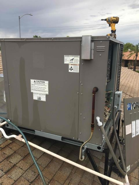 Phoenix, AZ - In Phoenix, AZ:  PREVENTATIVE MAINTENANCE-  Upon arrival, cycled unit into cooling mode. Left homeowner with intake filters and took temperature readings from supply and return. At unit, cleaned and tightened electrical connections. Took volts and amp draws from components. Upon departure, unit is working properly and within manufacturer specifications. Service complete.