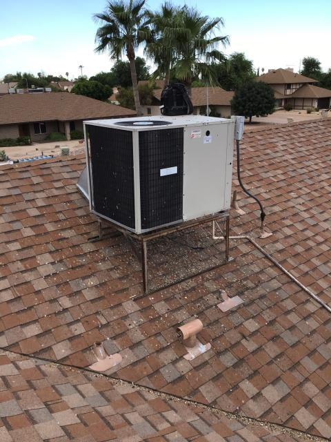 Glendale, AZ - In Glendale, AZ:  ESTIMATE-  Morehart AC to install and furnish 5 ton package heat pump on roof. To include new thermostat, stand 5/12, elbow 21.5/43.5x2.75, drain, disconnect, and fitting for 1/2 conduit to 3/4 with whip. To hook up to existing ducting, low volt, and high volt. Customer wants to add more insulation and address hot spot in main living room. Recommend putting in a high flow 20x25 return in hallway and adding 14 inch return to living room with a 20x20 grill. In addition return and supply ducting will be replaced with 20 inch flex with a 20-14 T. Estimate complete.