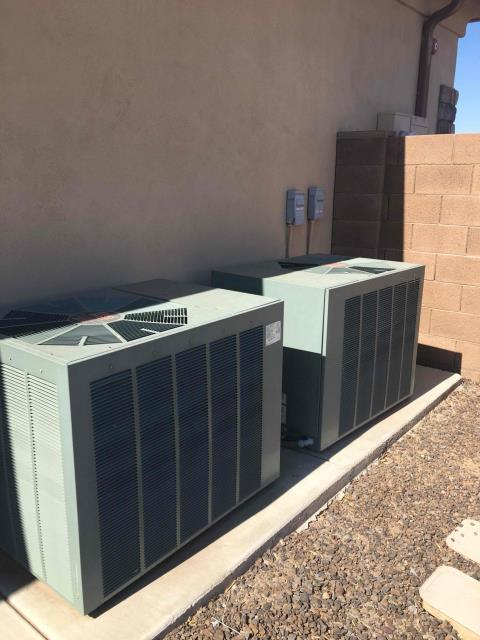 Peoria, AZ - In Peoria, AZ:  COMPLETE SYSTEM INSPECTION-  Performed system inspection on 2, 16 year old five ton Rheem units. Systems contain HCFC (R-22) Freon level within specification. Took volts and amp draws from components and both are within specification. Took temperature reading from supply and return and differentials were within range. Checked start and run capacitors and they are within range. Checked accuracy on thermostats and reading within specification. Checked air handlers and duct work sealed and attached also checked drain pan and noticed preexisting rust. Systems are draining properly on the primary drain line outside of home. Overall systems are working properly and within manufacturer specifications. Service complete.