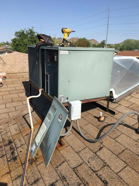 Phoenix, AZ - In Phoenix, AZ:  PREVENTATIVE MAINTENANCE-  Upon arrival, cycled unit into cooling mode. Left homeowner with intake filters and took temperature readings from supply and return. At unit, cleaned and tightened electrical connections. Took volts and amp draws from components. Washed and rinsed outdoor coils. Upon departure, unit is working properly and within manufacturer specification. Service complete.