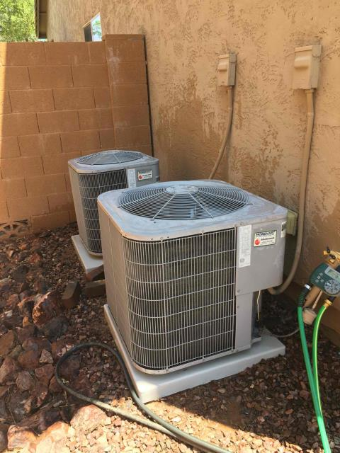 Buckeye, AZ - In Buckeye, AZ:  PREVENTATIVE MAINTENANCE-  Upon arrival, cycled units into cooling mode. Left homeowner with intake filters and took temperature readings from supply and return. At units, cleaned and tightened electrical connections. Took volts and amp draws from components. Checked Freon levels with super heat and subcool. Washed and rinsed outdoor coils. Upon departure, units are working properly and within manufacturer specifications.