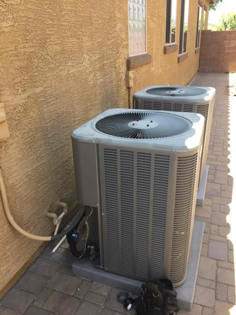 Goodyear, AZ - In Goodyear, AZ:  DIAGNOSTIC-  Upon arrival, cycled 2 units into cooling mode. At the condensers, checked volts and amp draws from components. Checked Freon levels with super heat and subcool. Found systems low on charge (1-2 lbs low). Searched for leak and no leak was present. Recommend performing service and recharge on system. Pending approval for service. Diagnostic complete.